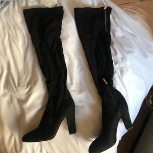 Ivanka Trump black suede Over the knee boots